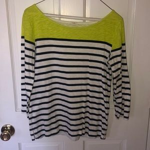 J. Crew white, navy, and green tee